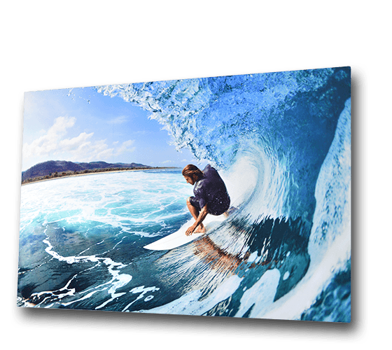 metal print of surfer